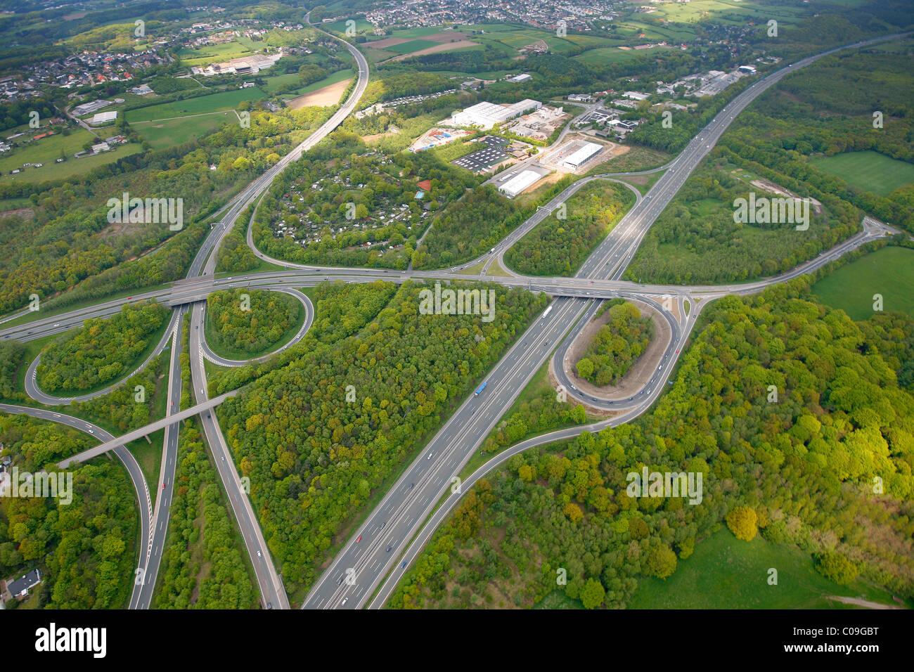 Aerial view, interchange A1 and A43 motorways, Sprockhoevel slip way, Ruhrgebiet region, North Rhine-Westphalia, - Stock Image