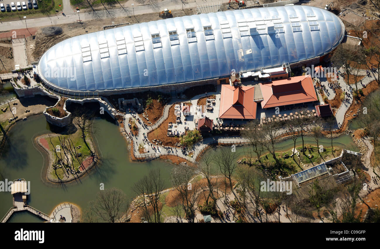 Aerial view, zoo, Zoom Erlebniswelt animal theme park, Willy-Brandt-Allee, Gelsenkirchen, Ruhrgebiet region - Stock Image