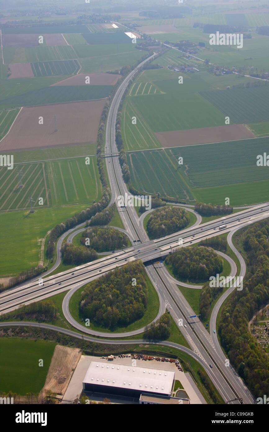 Aerial view, interchange Unna, A44 and A1 motorways, equestrian facility Reiterhof Niedermassen, Unna, Ruhrgebiet - Stock Image