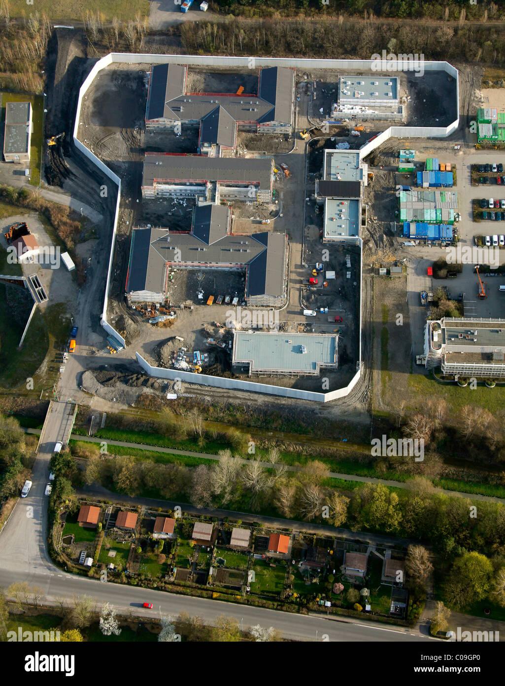 Aerial view, forensics, preventive detention, Wanne-Eickel, Herne, Ruhrgebiet region, North Rhine-Westphalia, Germany, - Stock Image