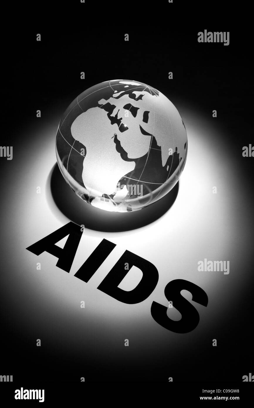 globe, concept of Global AIDS spread and Prevention - Stock Image