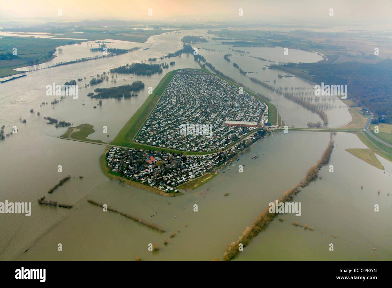Aerial view, draining off high water, Rhine flood, Kartaeuser camping ground on the Gravinsel island, Wesel, Niederrhein - Stock Image