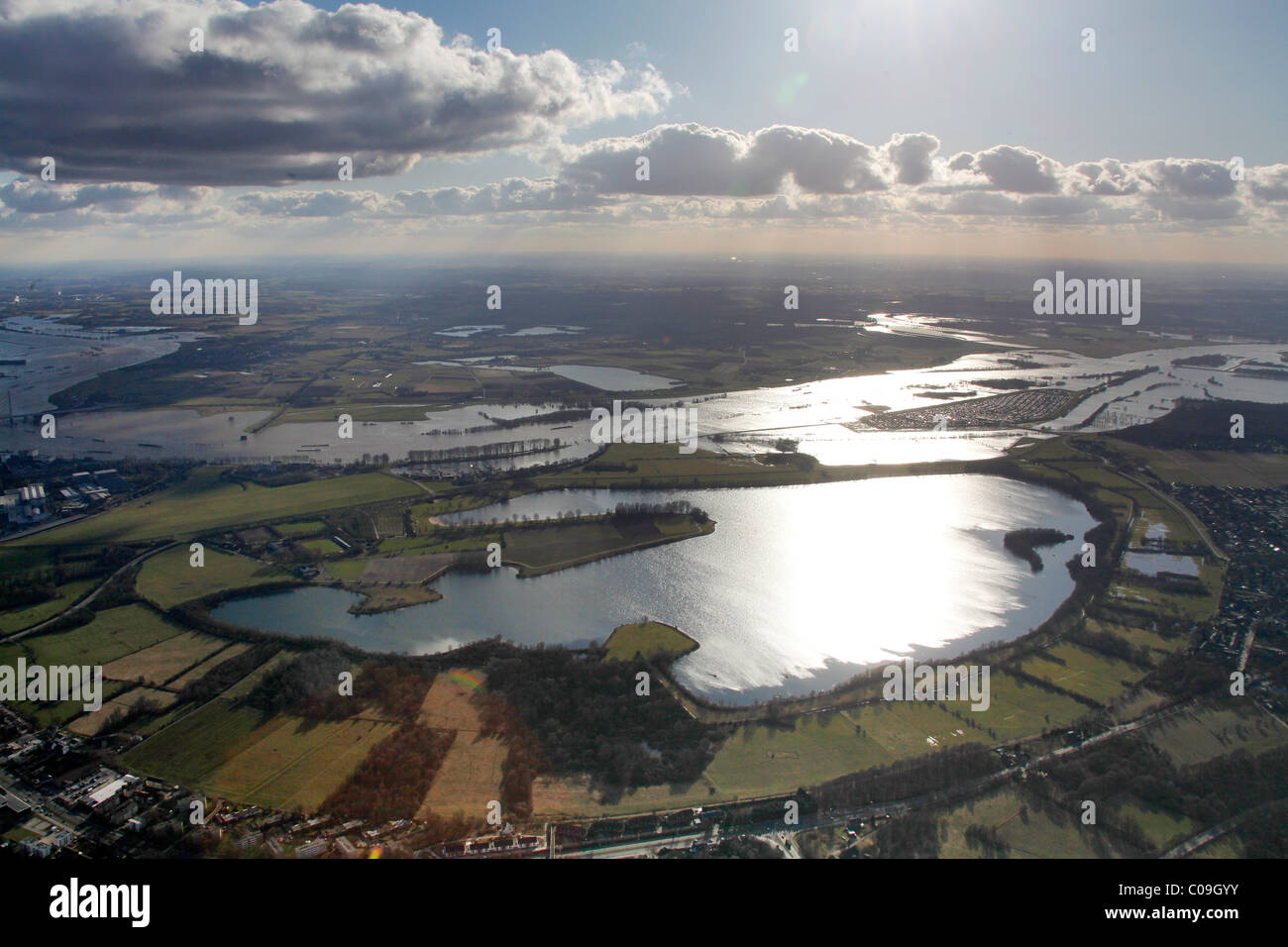 Aerial view, draining off high water, Rhine flood, Kartaeuser Gravinsel island, Wesel, Niederrhein region, Ruhrgebiet - Stock Image