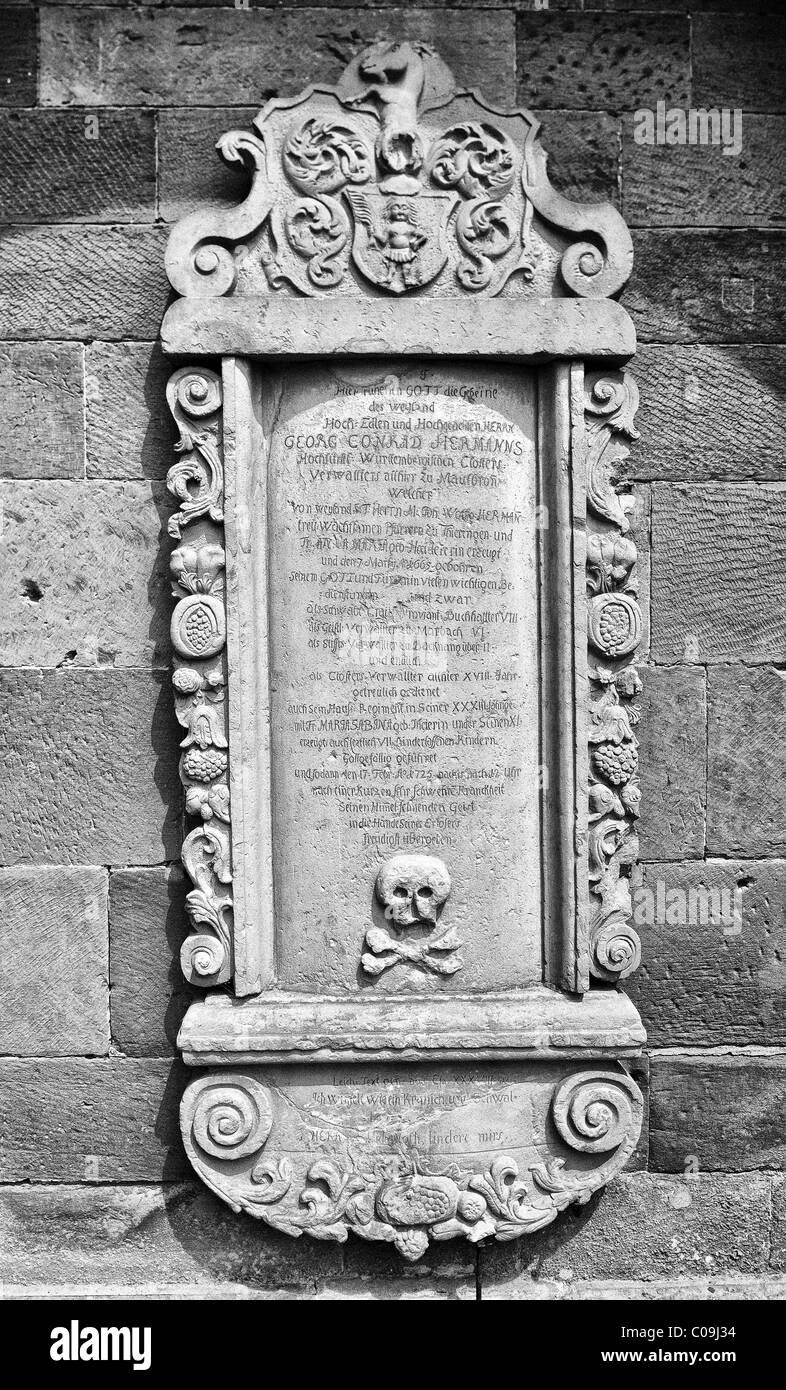 Inscription on the grave of Georg Conrad Herrmann, Monastery Church, Maulbronn Monastery, Cistercian Abbey - Stock Image