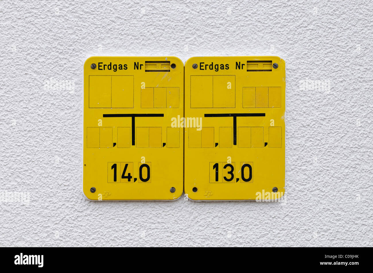Natural gas signs - Stock Image