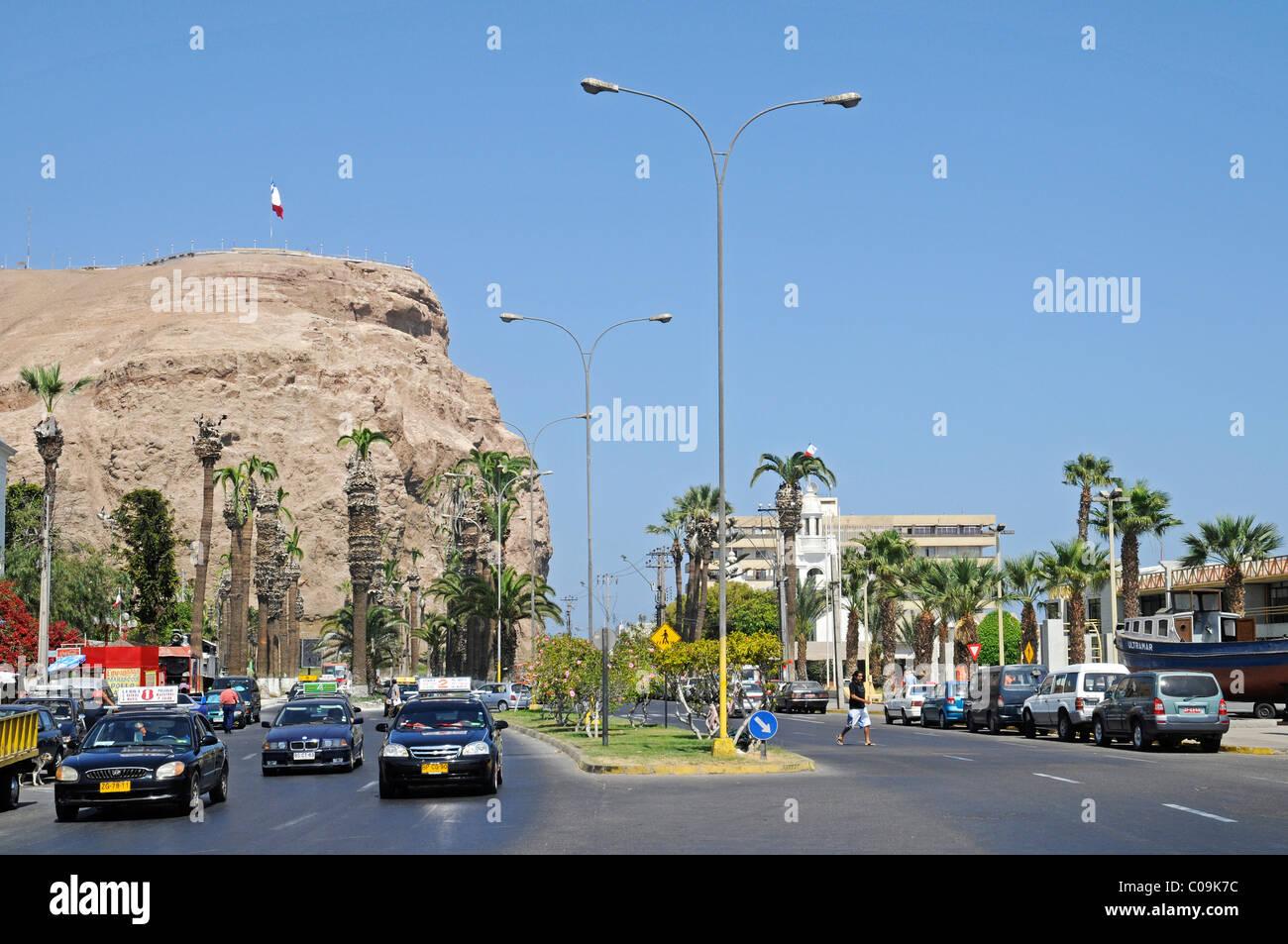 El Morro, mountain, landmark, theater of war, War of the Pacific, road traffic, Arica, Norte Grande, northern Chile, - Stock Image