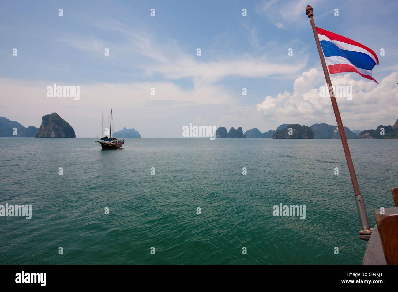 Junk in the Phang Nga Bay, Phuket, Thailand, Asia - Stock Image