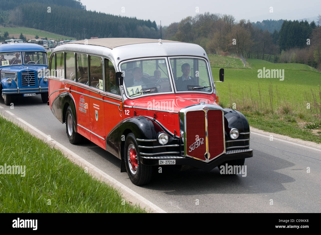 A historic FBW vehicle from Switzerland takes part in a road run through Austria for oldtimer buses. - Stock Image