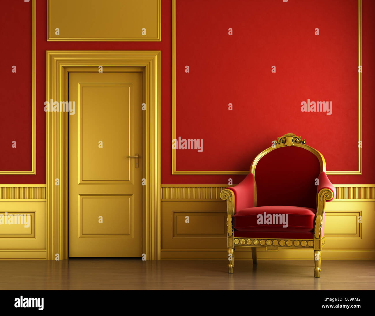 Charmant Interior Design Of Stylish Classic Room In Red And Golden ...