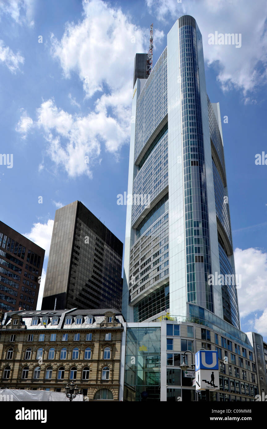 Commerzbank Tower, headquarters, Kaiserplatz, Financial District, Frankfurt am Main, Hesse, Germany, Europe Stock Photo