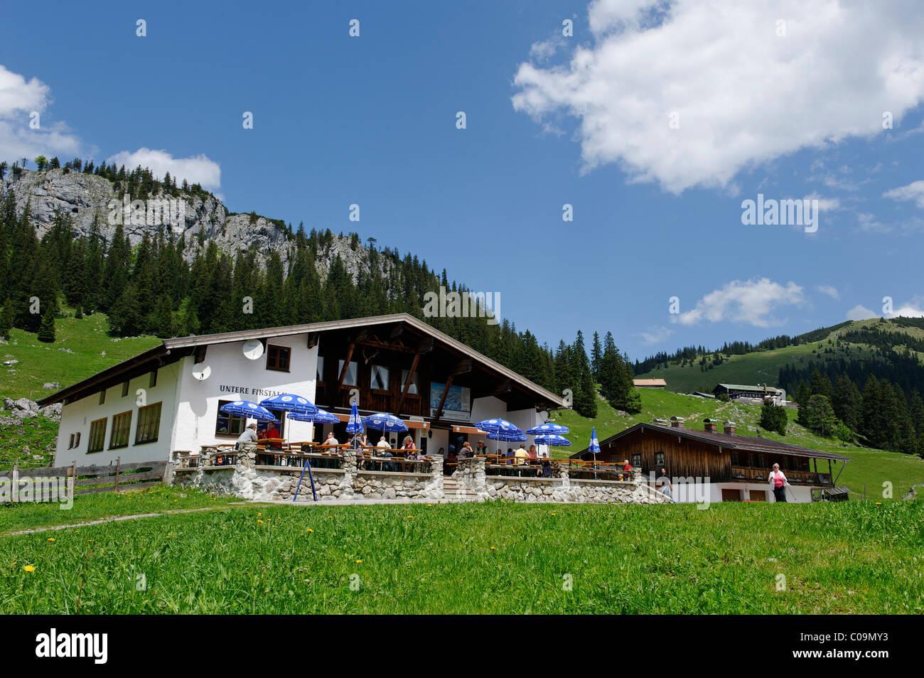Untere Firstalm, Firstalmen mountain pastures below Mt. Bodenschneid, Mangfallgebirge range, Spitzing, Upper Bavaria Stock Photo