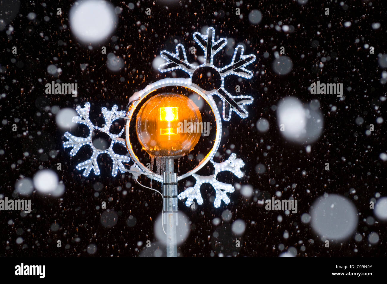 Christmas lights with snow flakes at night - Stock Image