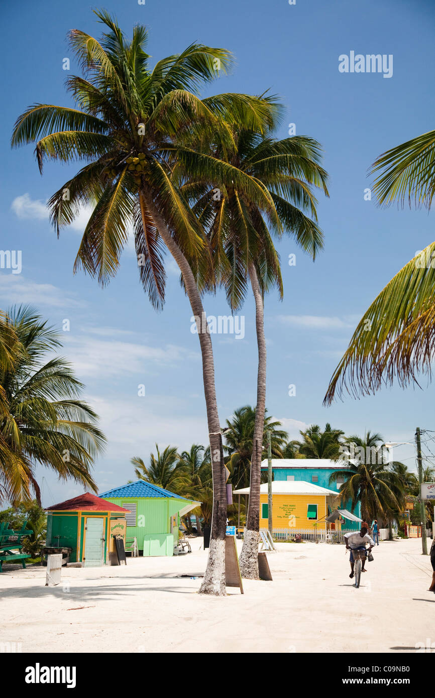 A colorful beach town in Belize. - Stock Image