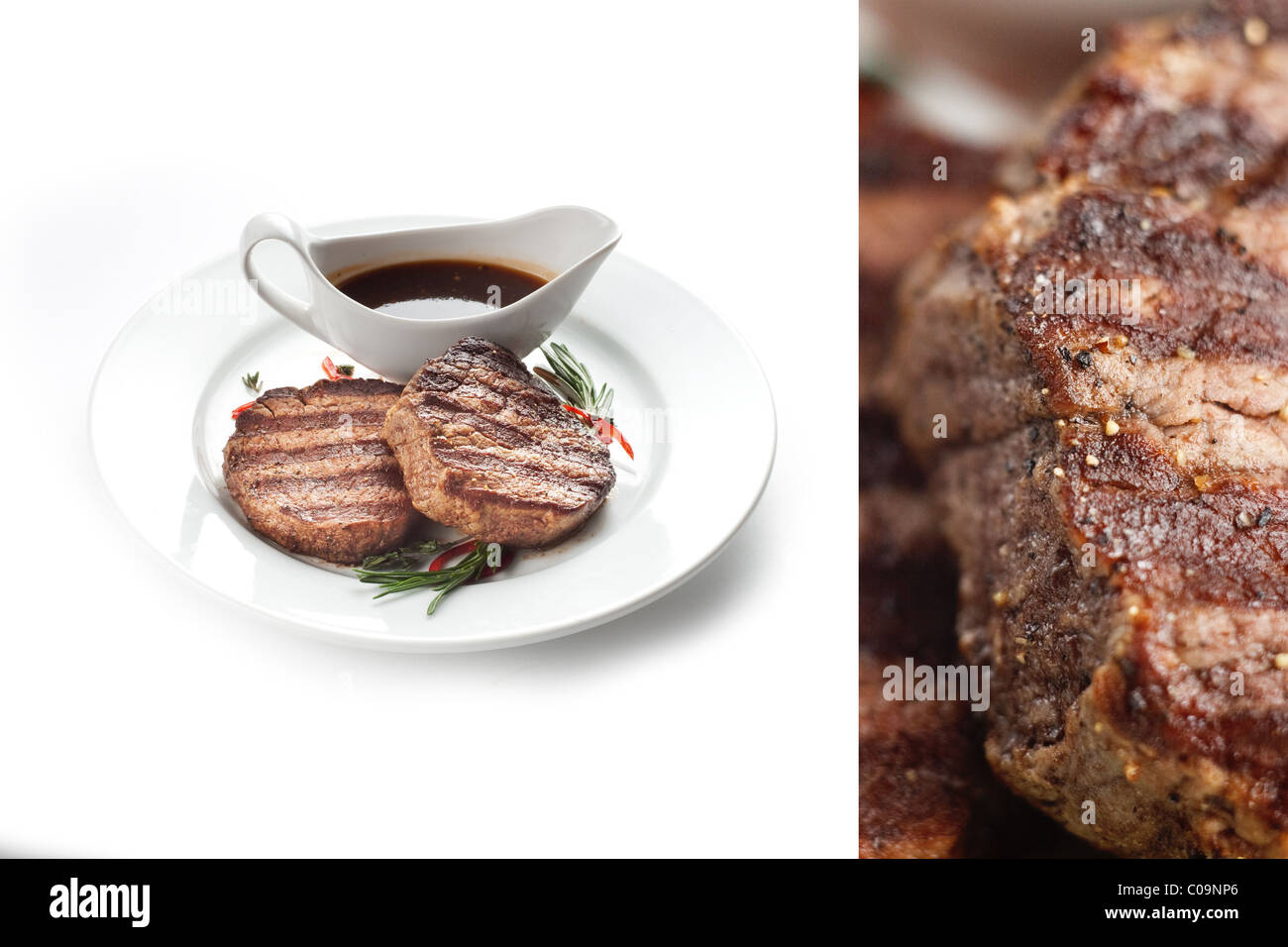 Steak cooking on wood fired flame grill in Restaurant on white plate menu restaurant with vegetables and souse - Stock Image