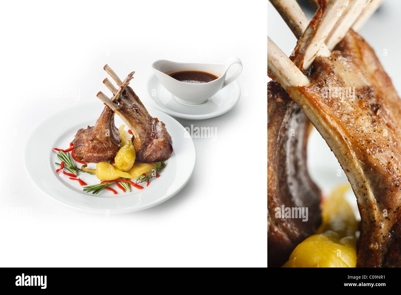 mutton on white plate with vegetables and souse for menu restaurant dinner food - Stock Image
