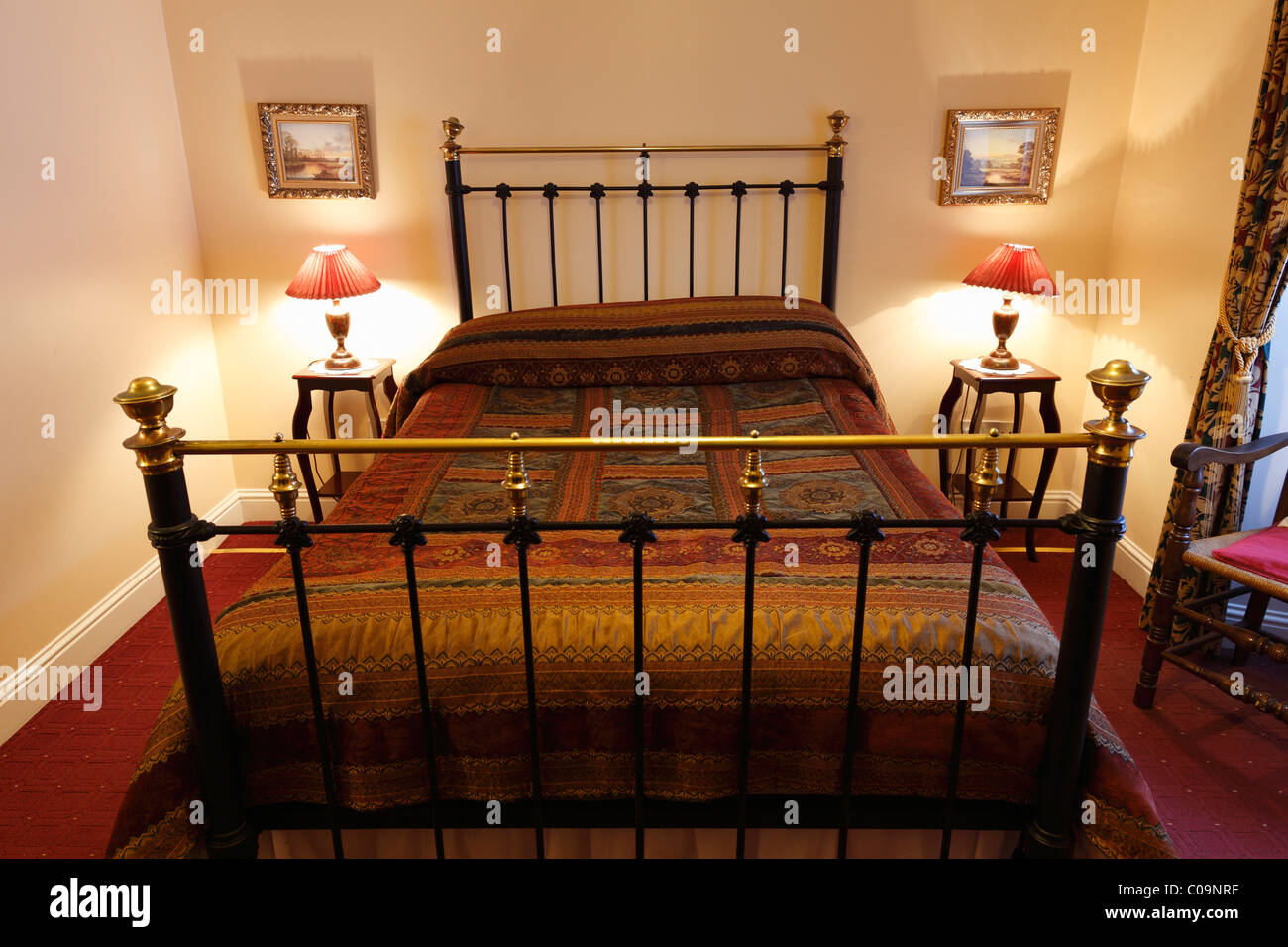 Double bed in the Bed and Breakfast Olde Bakery, Kinsale, County Cork, Republic of Ireland, British Isles, Europe Stock Photo