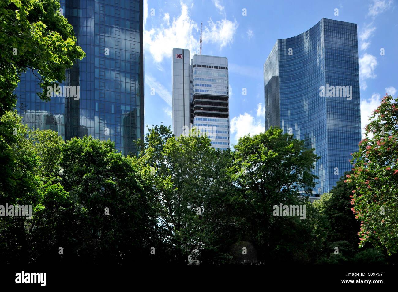 Dresdner Bank headquarters called Gallileo, DB Tower, Skyper building, Taunusanlage park, Financial District, Frankfurt am Main Stock Photo