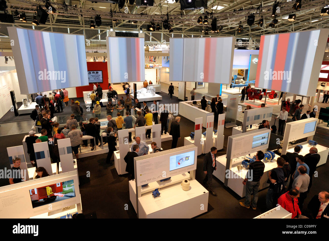 BOSCH REXROTH Technik booth, Bauma 2010 trade fair for construction machinery, Messe Munich fairgrounds, Munich, - Stock Image