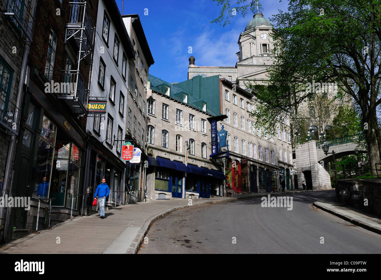 In the streets of the historic town centre of Quebec City, Quebec, Canada - Stock Image