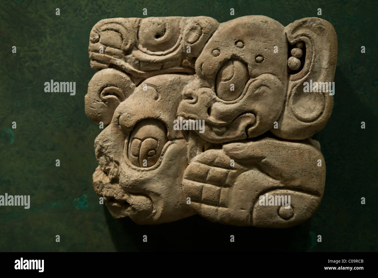 Maya gods portrait in a stucco glyph in the National Museum of Anthropology, Mexico City. - Stock Image