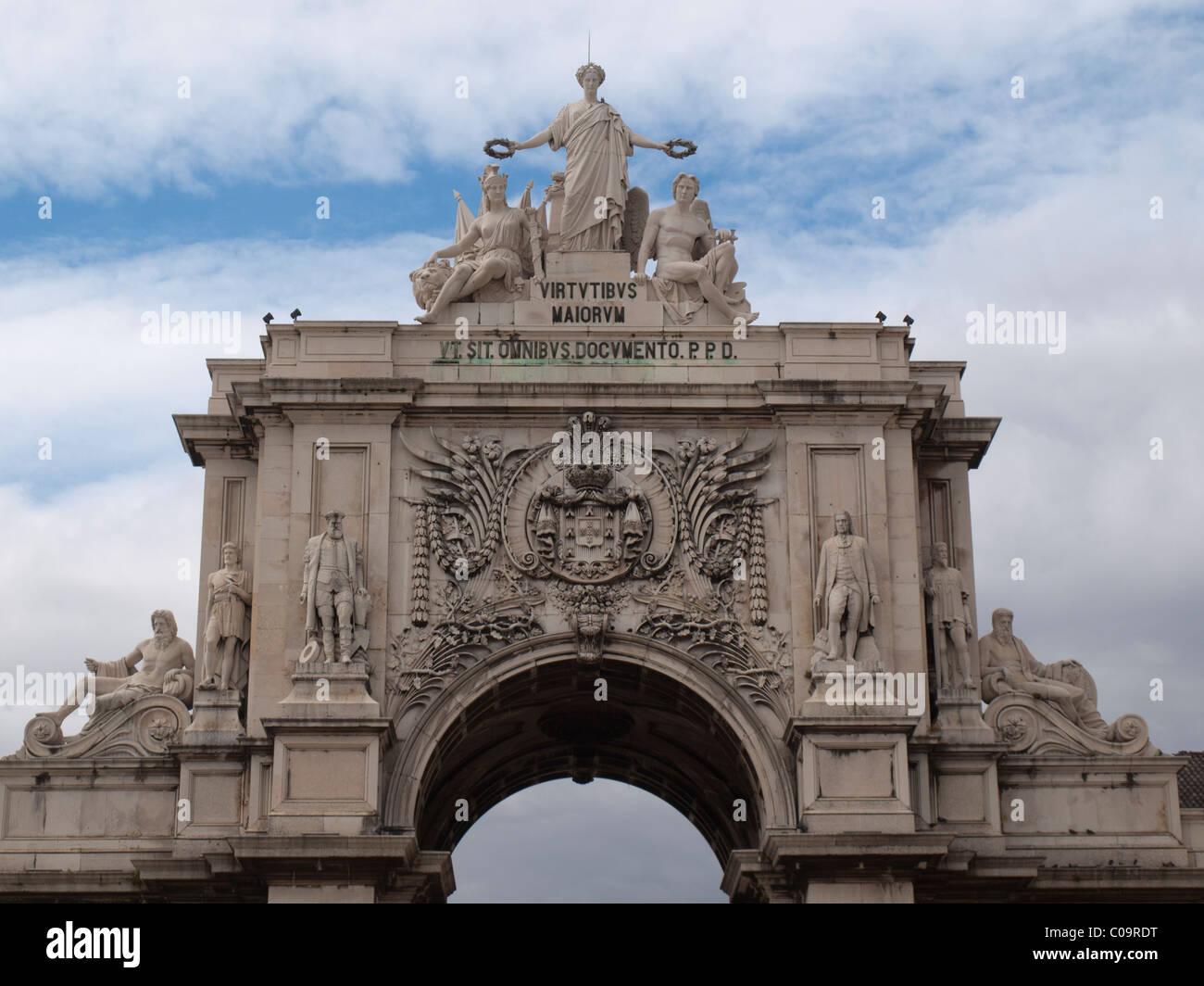 Rua Augusta arch downtown Lisbon - Stock Image