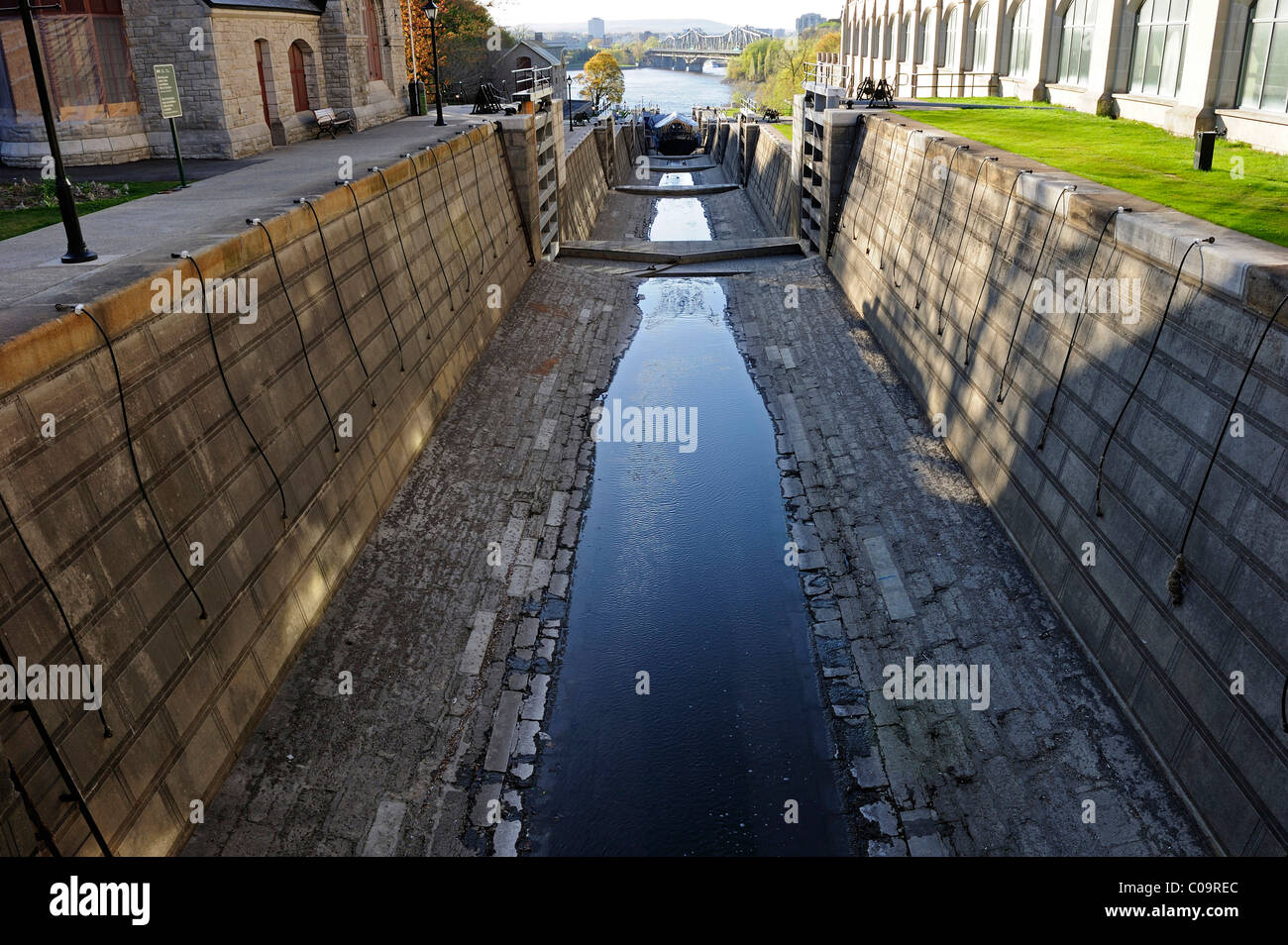 The locks on the Rideau Canal overcome a 25m height difference, Ottawa, Ontario, Canada - Stock Image