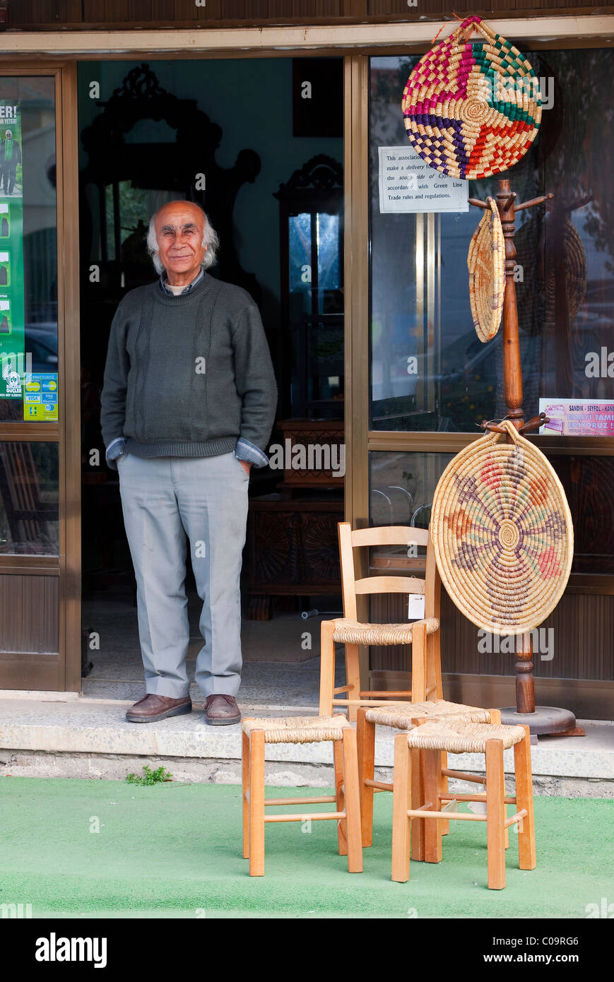 Proud shopkeeper, Famagusta, Northern Cyprus, Turkish, Cyprus and Southern Europe - Stock Image