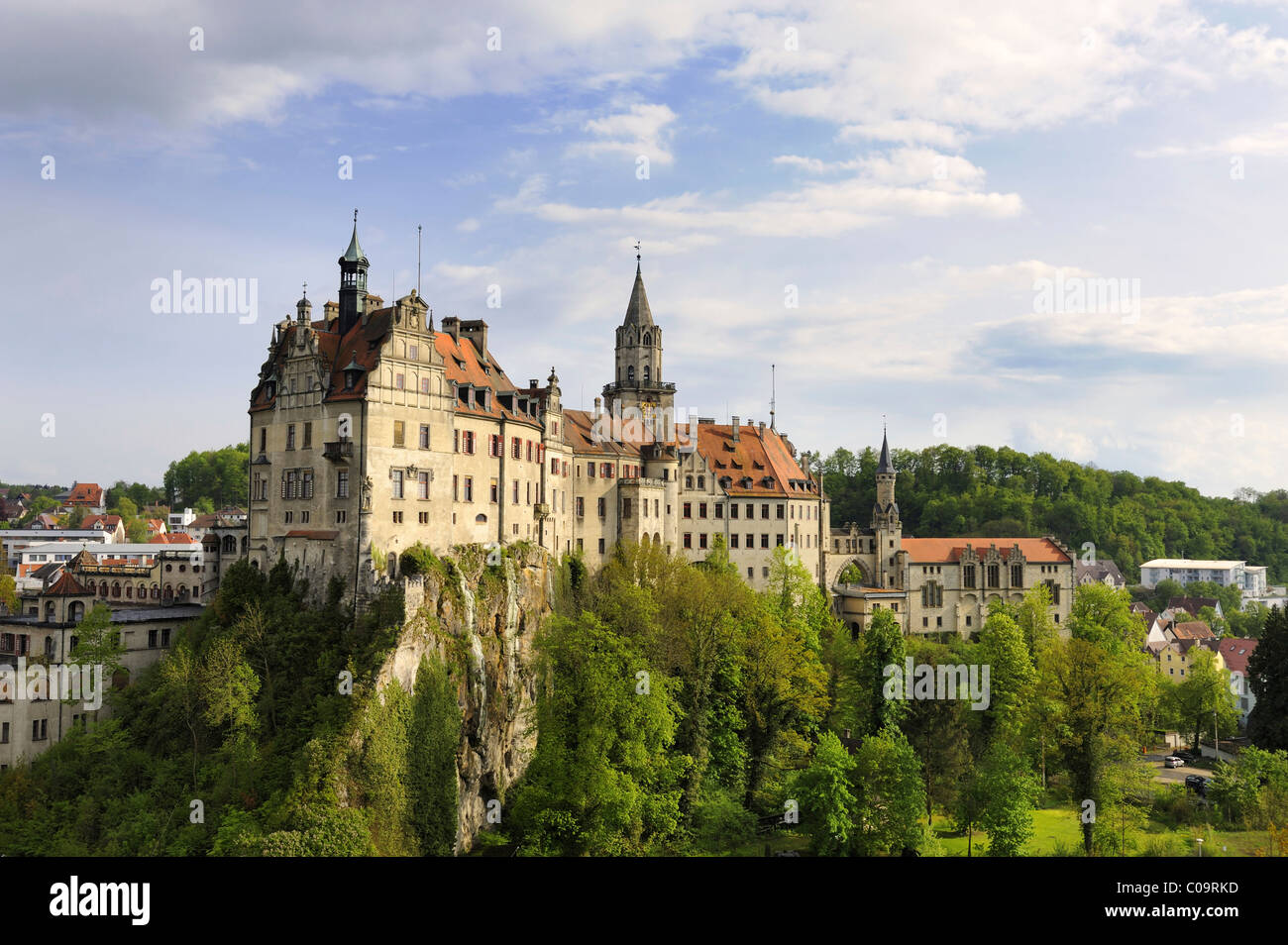 Schloss Sigmaringen castle in the evening sun, Landkreis Sigmaringen district, Baden-Wuerttemberg, Germany, Europe - Stock Image