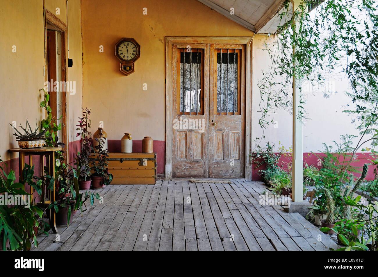 Patio, veranda, El Solar de los Madariaga, traditional residence, museum, birthplace, Vicuna, Valle d'Elqui, - Stock Image