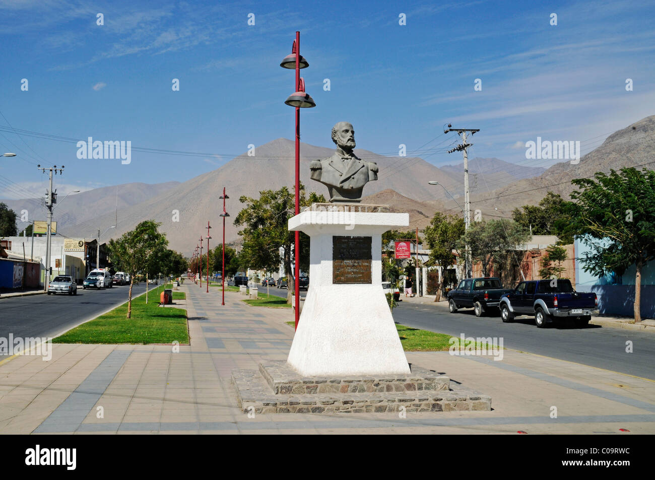 Streets, monument, Arturo Prat Chacon, war hero, captain, Vicuna, Valle d'Elqui, Elqui Valley, La Serena, Norte - Stock Image