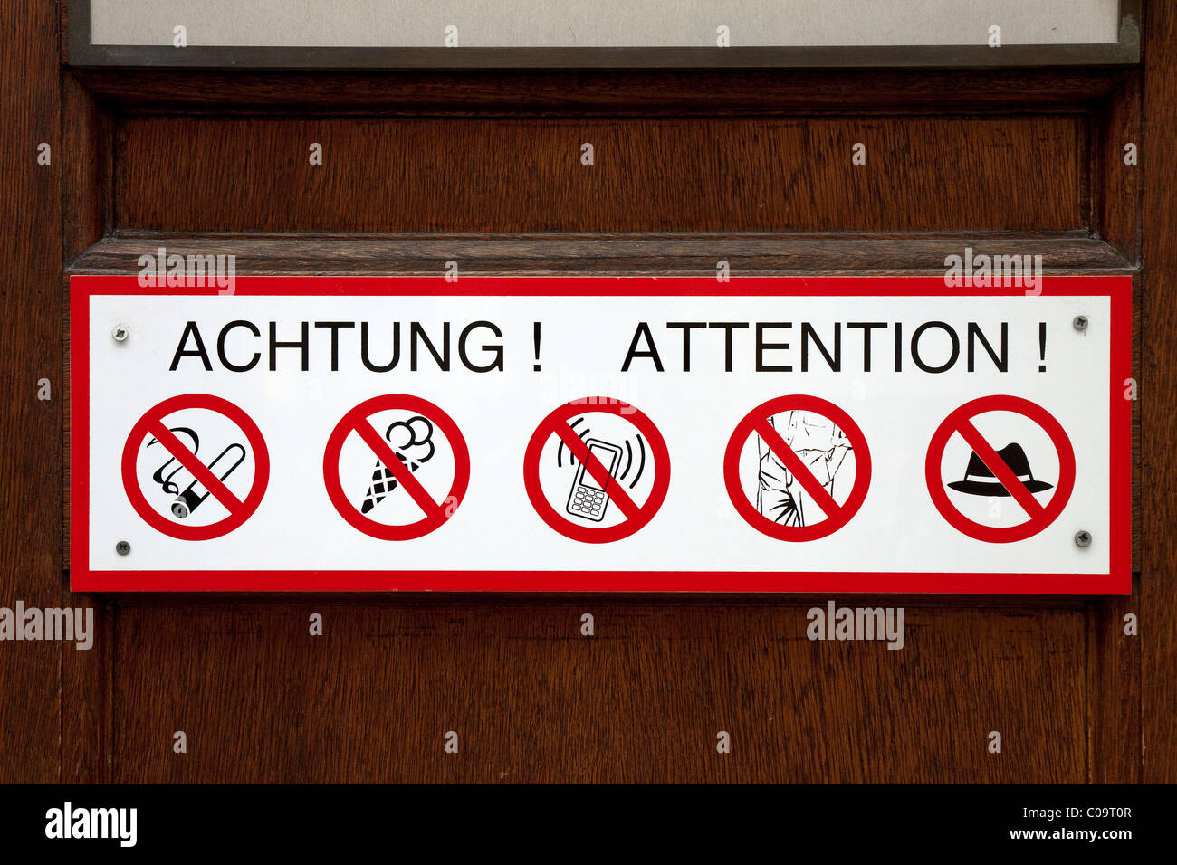 Many prohibitions on a sign, symbol, good manners, decency - Stock Image