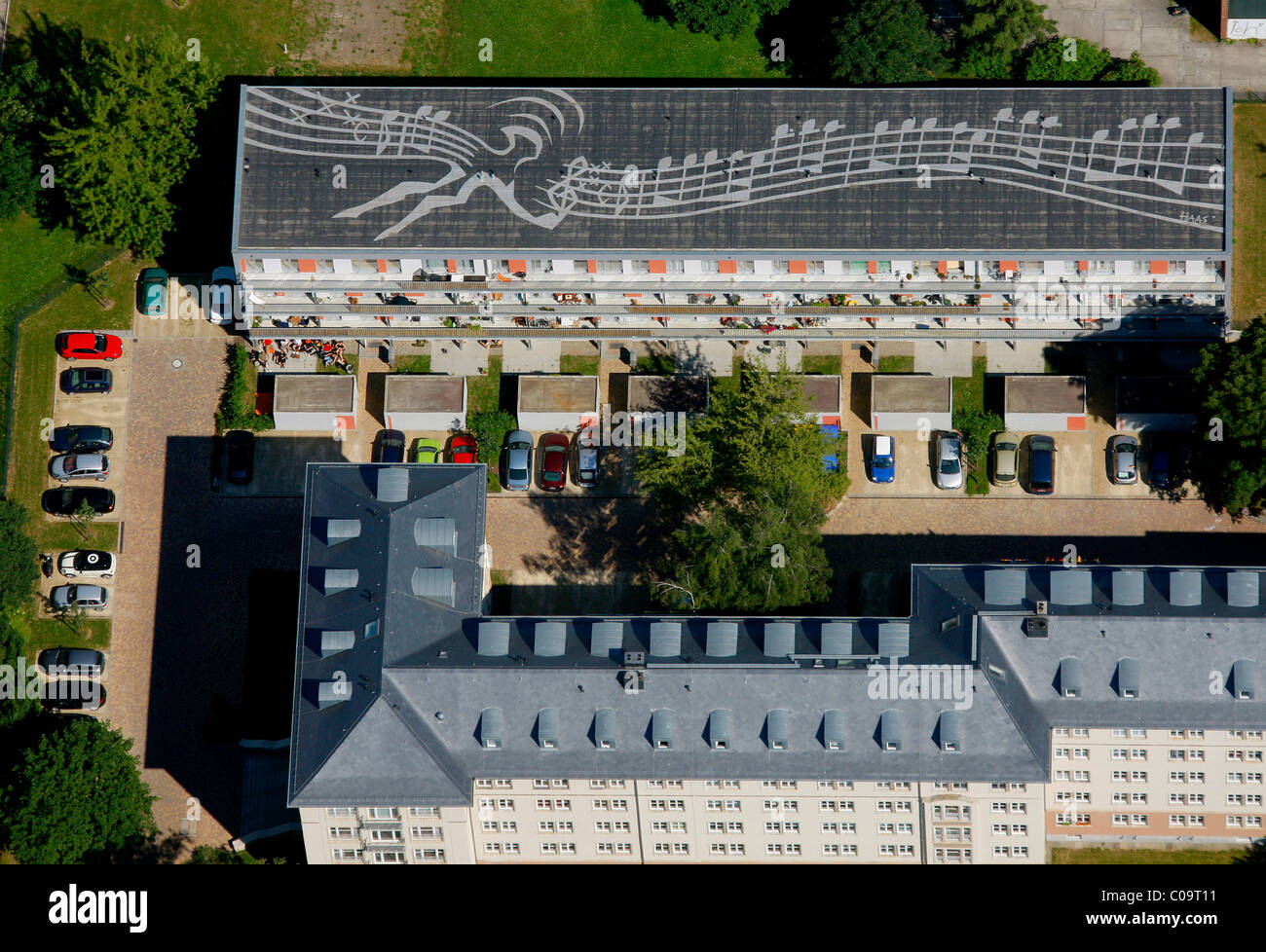 Aerial view, flat roof, notes on the roof, Gutzkowstrasse, Dresden, Saxony, Germany, Europe - Stock Image