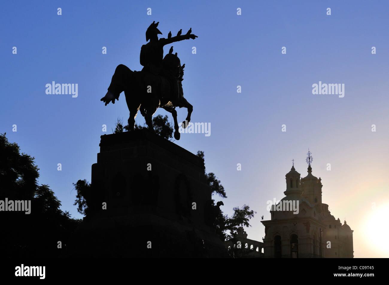 Plaza San Martin square with equestrian statue, Cordoba, Argentina, South America - Stock Image