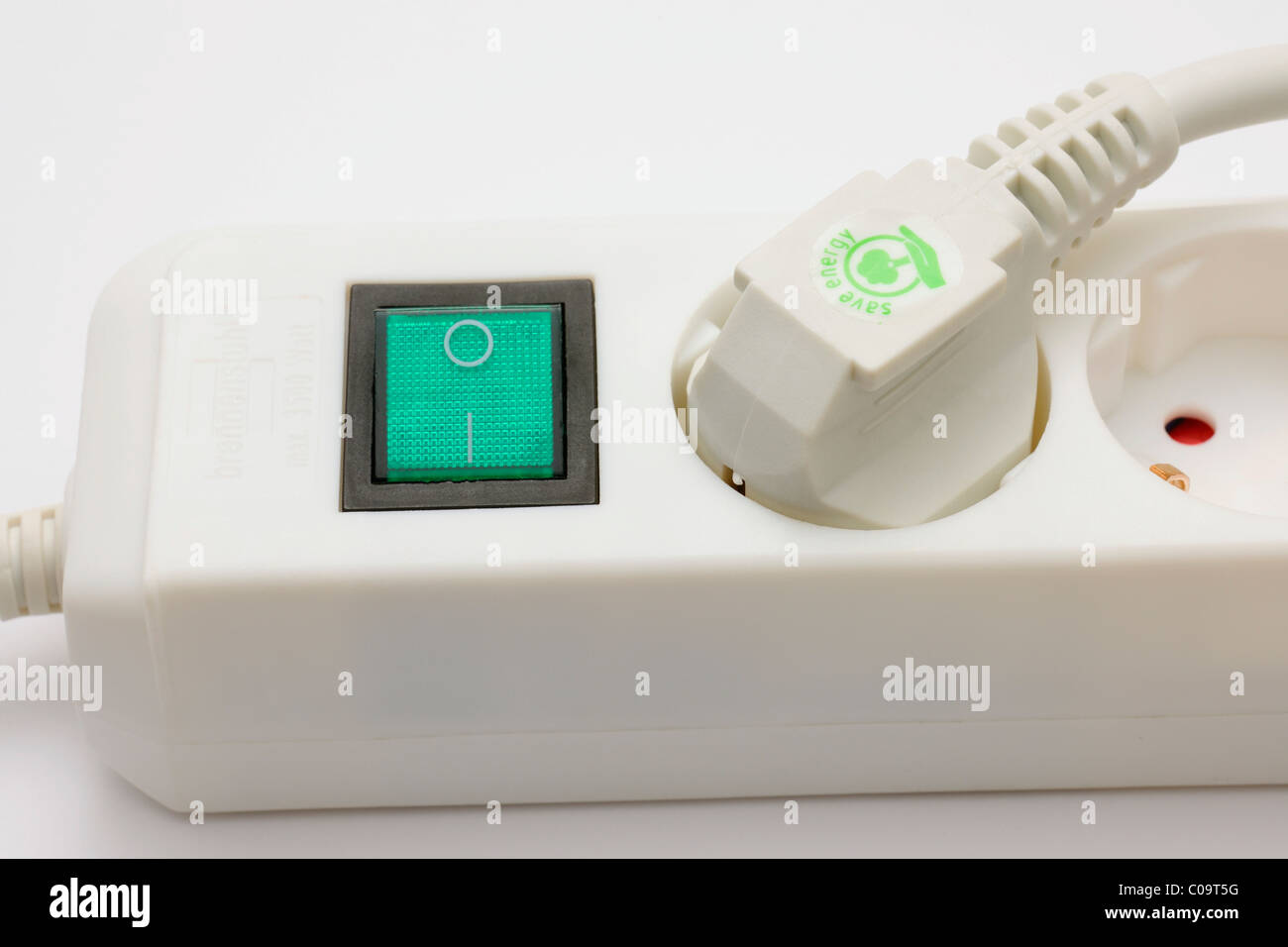 Socket outlet with plug, safe energy - Stock Image