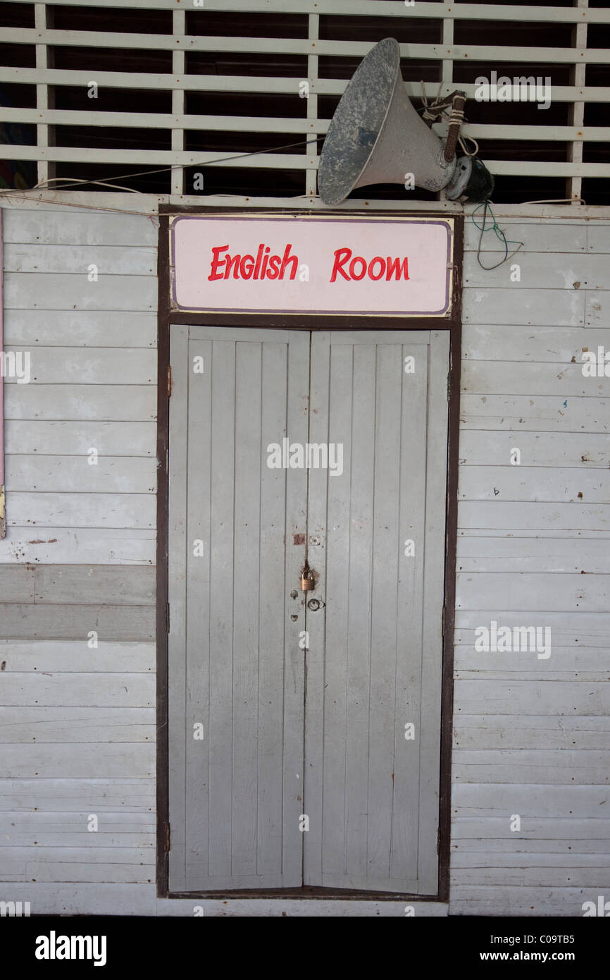 Entrance to the classroom for English classes in the Muslim fishing village of Pannyi, Phang Nga Bay, Thailand, - Stock Image