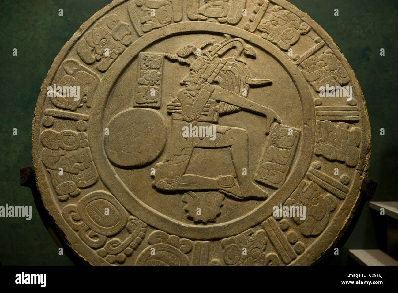 Mayan ballgame marker from the Maya site of Chinkultic, Chiapas, now in the National Museum of Anthropology, Mexico - Stock Image