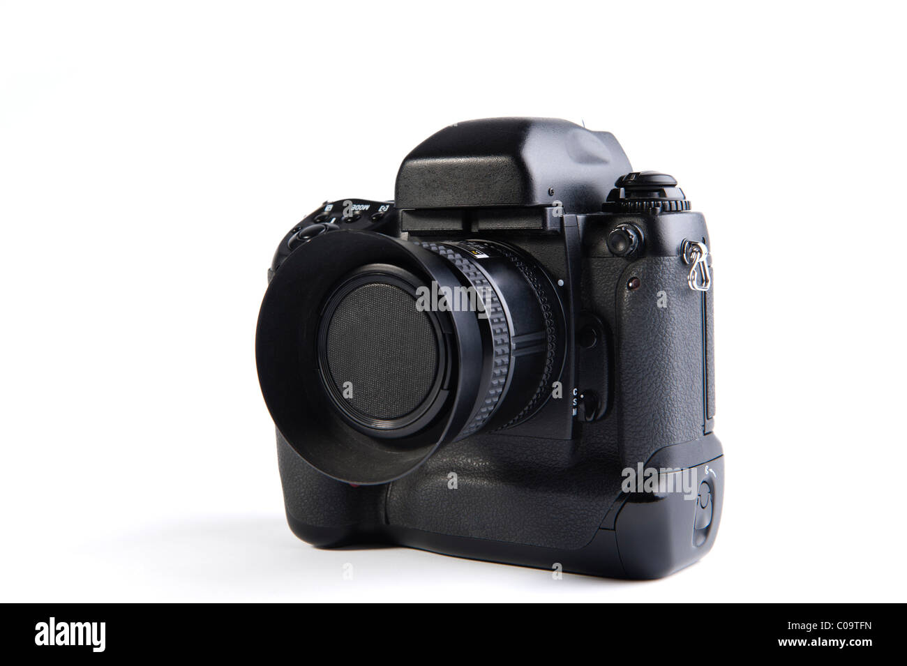 Professional Camera on white background without trademark or logo. - Stock Image