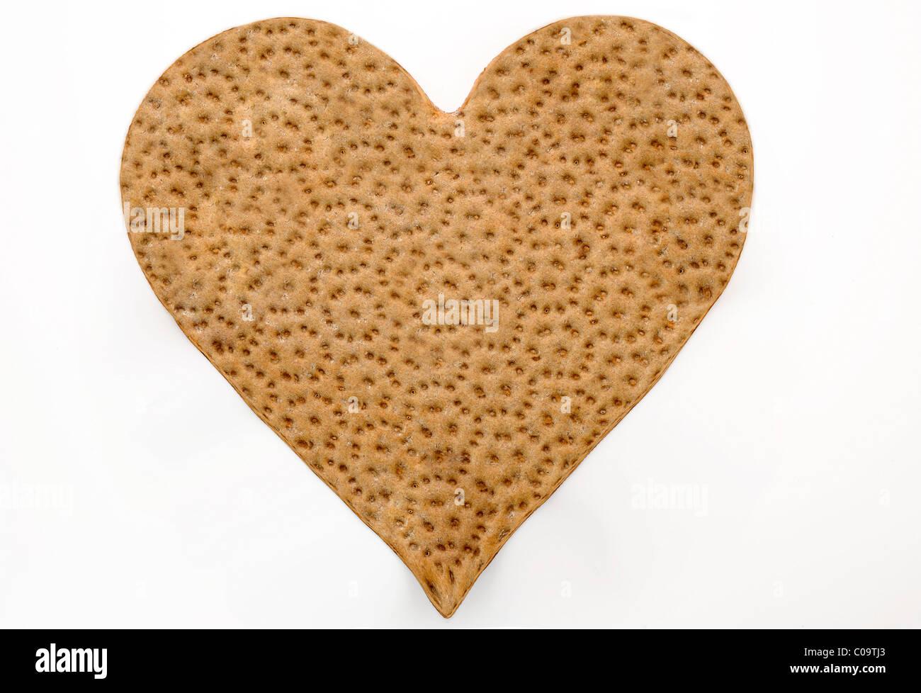 Crispbread in heart shape - Stock Image