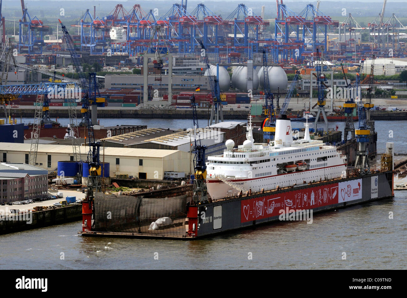 Shipyards with MS Deutschland in the dock, harbour, Hamburg, Germany, Europe - Stock Image