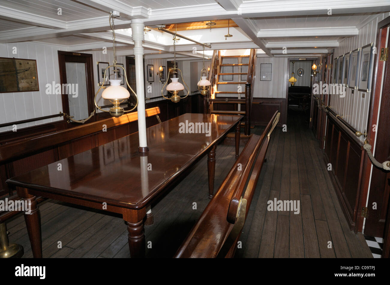 Officer's mess, museum ship, Rickmer Rickmers, Hamburg, Germany, Europe Stock Photo