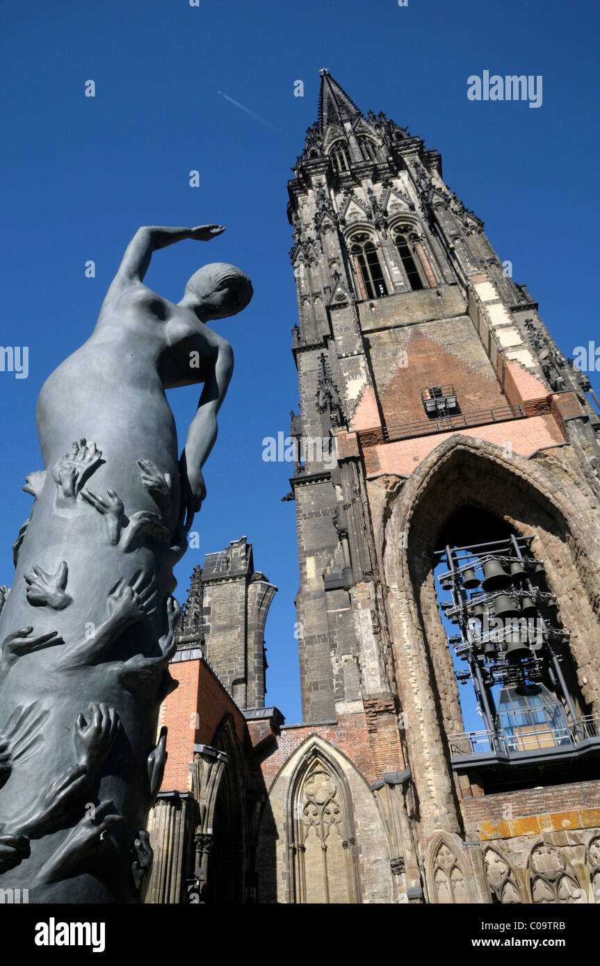 Bronze sculpture, Erden Engel, angel on earth, St. Nikolai Memorial, tower of the Nikolai Church, Hamburg, Germany, - Stock Image