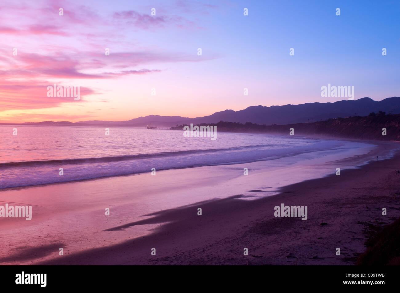 Rincon Beach sunset California coast near Carpinteria Santa Barbara Southern California USA - Stock Image