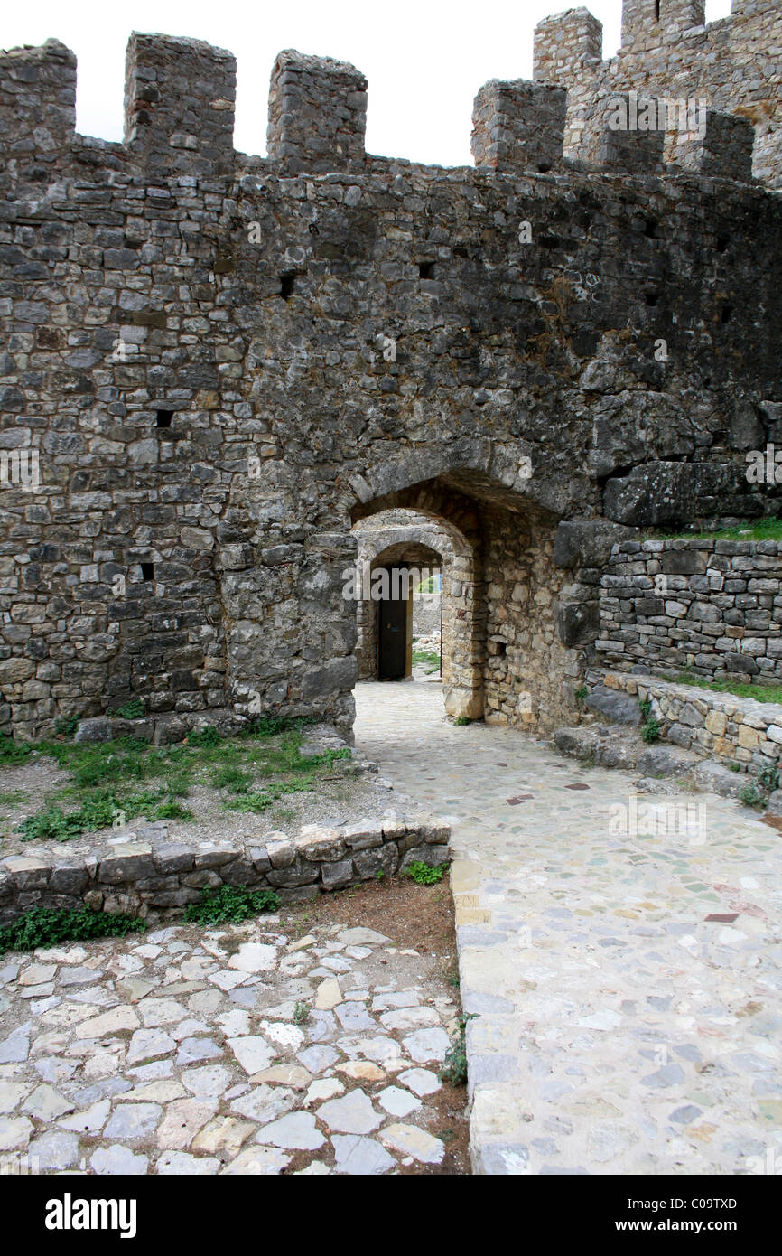 Details of the walls, arches and courtyards in Nafpaktos Castle, Aetolia-Acarnania, West Greece - Stock Image