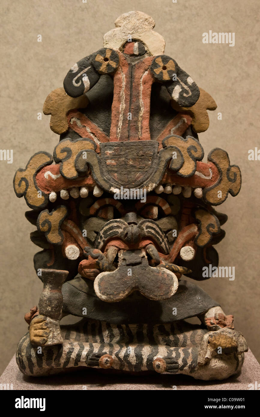 Funerary urn dedicated to the Zapotec rain god Cocijo. Monte Alban, Oaxaca. Museo Nacional de Antropología, - Stock Image