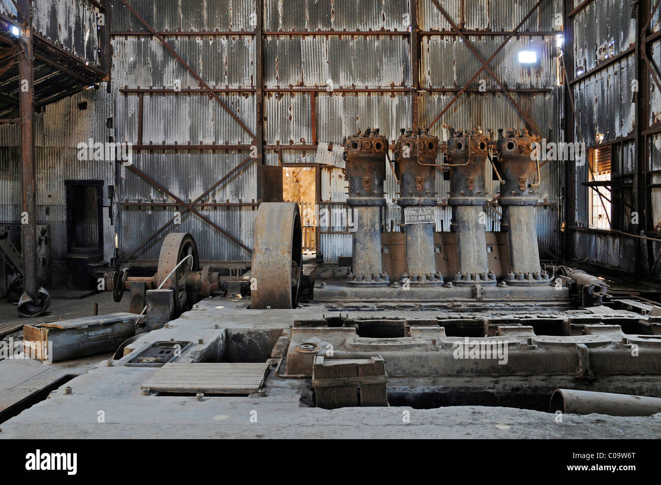 Factory buildings, industrial facilities, saltpeter works, abandoned salpeter town, ghost town, museum - Stock Image