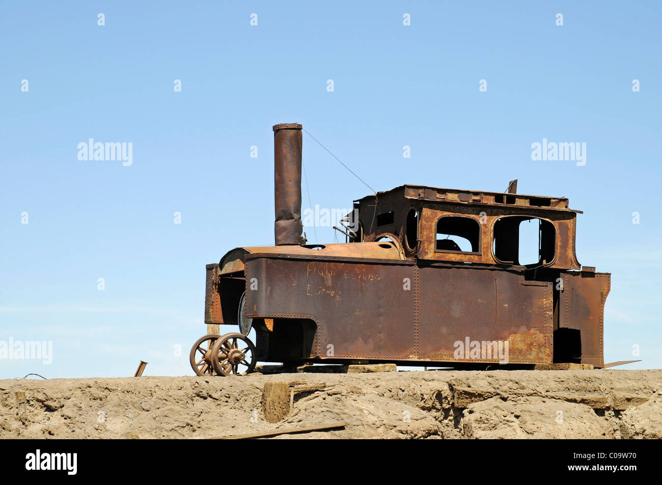 Locomotive, train, saltpeter works, abandoned salpeter town, ghost town, desert, museum, Unesco World Heritage Site, - Stock Image