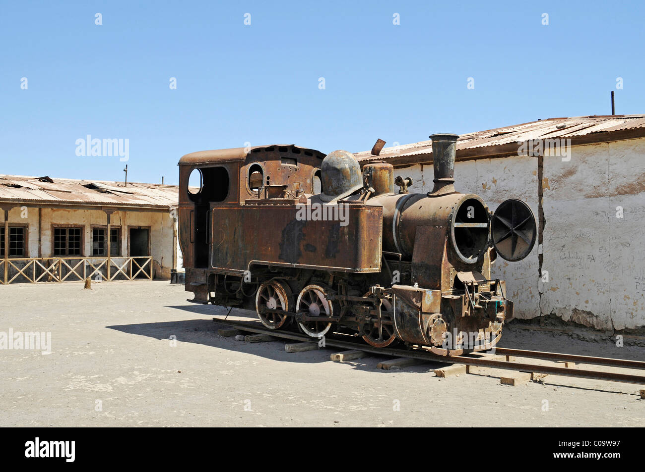 Locomotive, train, Humberstone, salpetre works, abandoned salpetre town, ghost town, desert, museum, UNESCO World - Stock Image