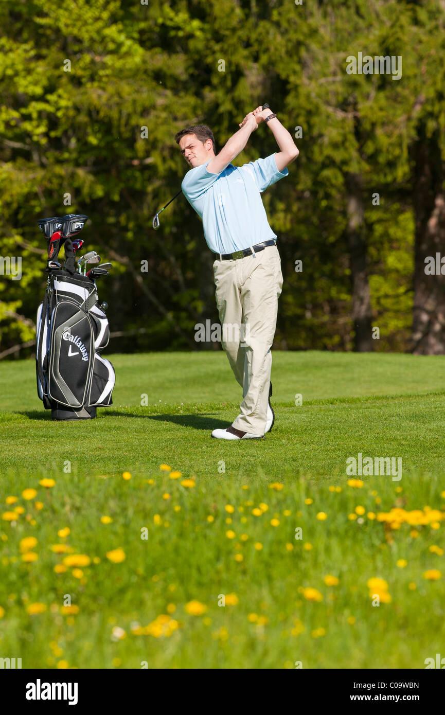 Golfer at tee off, alpine golf course, Achenkirch, Tyrol, Austria, Europe - Stock Image