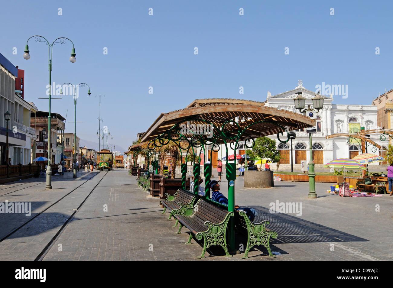 Covered benches, Plaza Arturo Prat square, Avenue Baquedano, historic buildings, street, pedestrian area, Iquique, - Stock Image