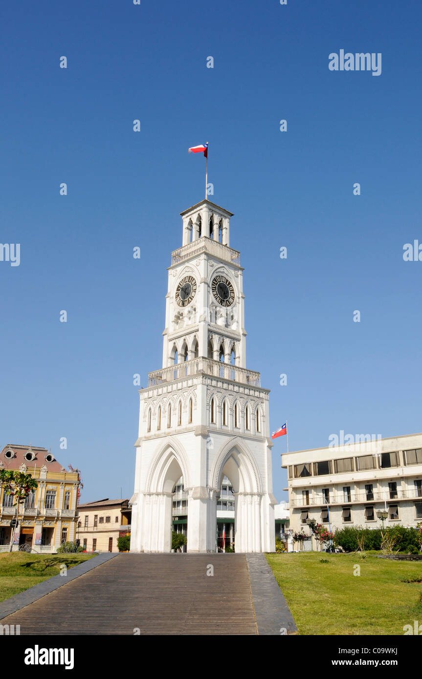 Clock Tower, national monument, Plaza Arturo Prat square, Iquique, Norte Grande, Northern Chile, Chile, South America - Stock Image
